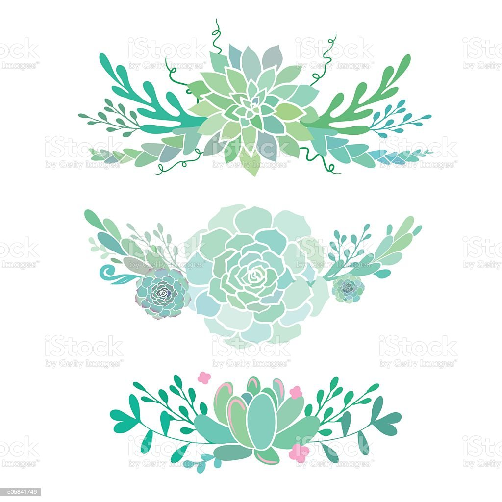 vector flourishes with succulents stock vector art amp more