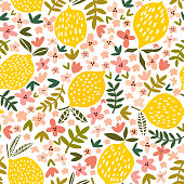 Vector flower and lemon seamless pattern. Floral background