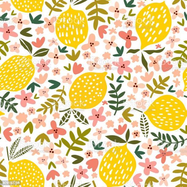 Vector flower and lemon seamless pattern vector id929183788?b=1&k=6&m=929183788&s=612x612&h=rpezu kwrqcmcbg27udzjkuk zte2uqns ysislyusi=