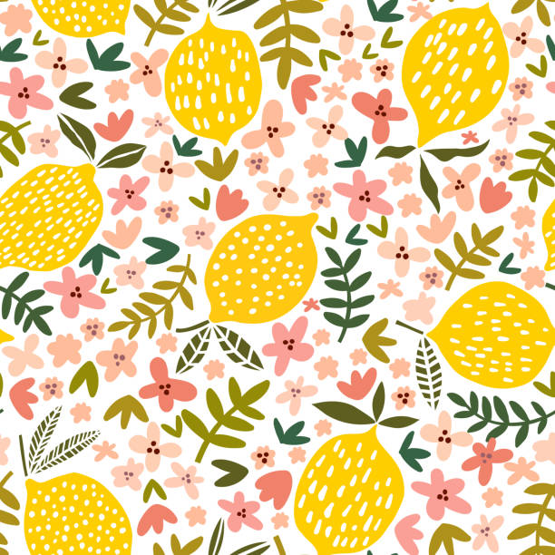 Vector flower and lemon seamless pattern Vector flower and lemon seamless pattern. Floral background lemon fruit stock illustrations