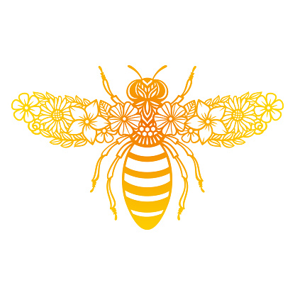 Vector flower bee. Floral insect silhouette. Template for paper cutting.
