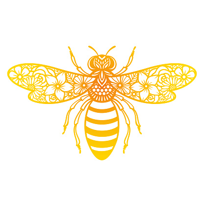 Vector flower bee. Insect silhouette. Template for paper cutting.