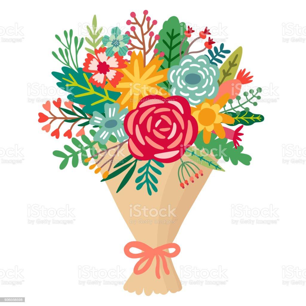 Vector Flower Bouquet Floral Bunch Illustration Stock Vector Art