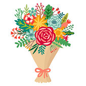 Vector flower bouquet. Floral bunch illustration isolated