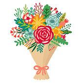 Vector flower bouquet. Floral bunch illustration