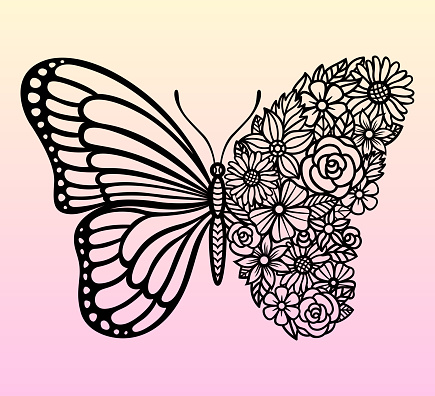 Vector flower butterfly. Insect silhouette. Template for laser and paper cutting.