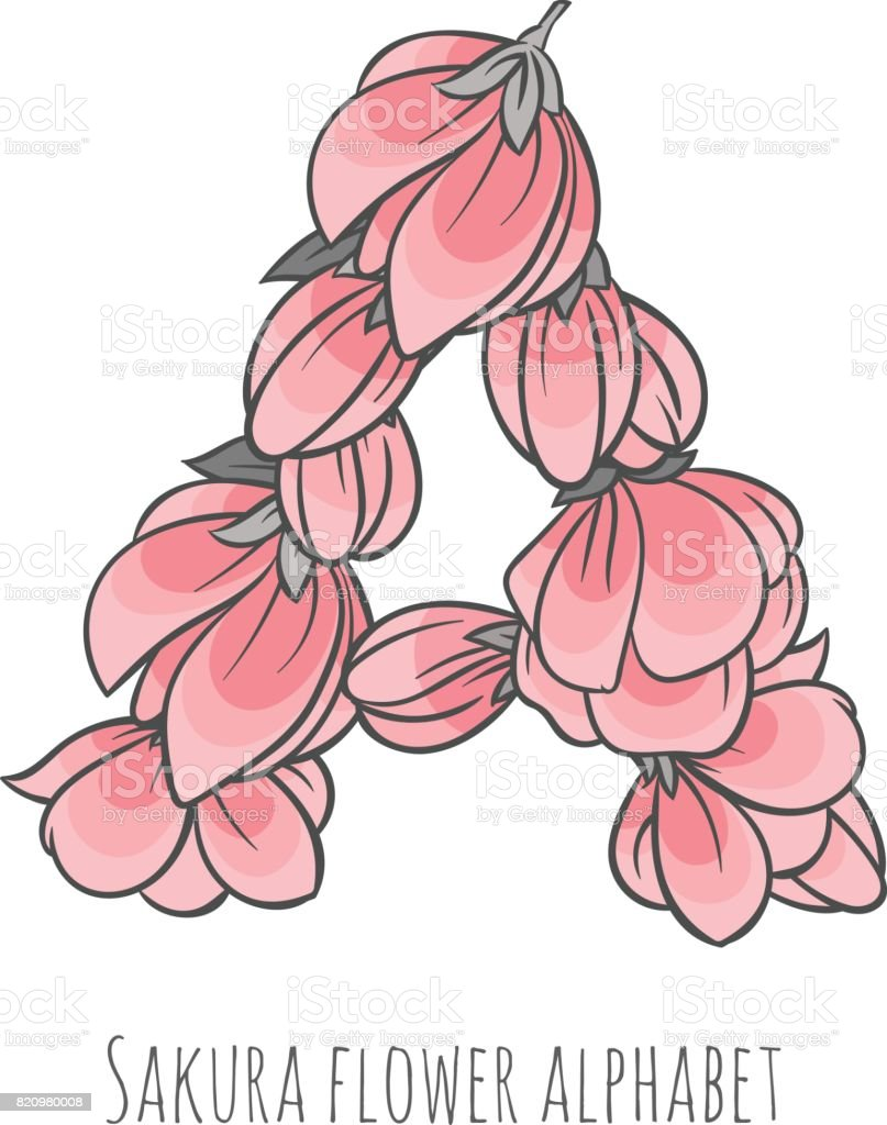 Vector Flower Font Made With Sakura Flowers And Leaves Stock Vector ...