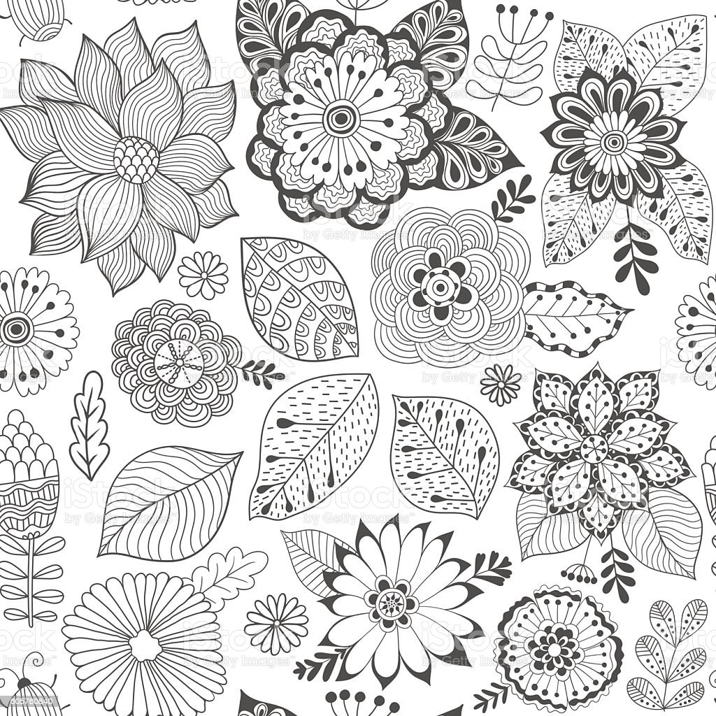 Vector Flower Pattern Colorful Seamless Botanic Texture Detailed Flowers Illustrations Royalty Free