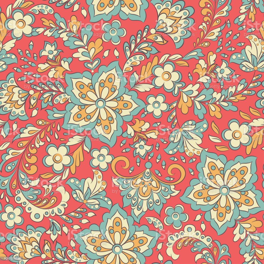 Vector Flower Seamless Pattern Cute Floral Background Stock