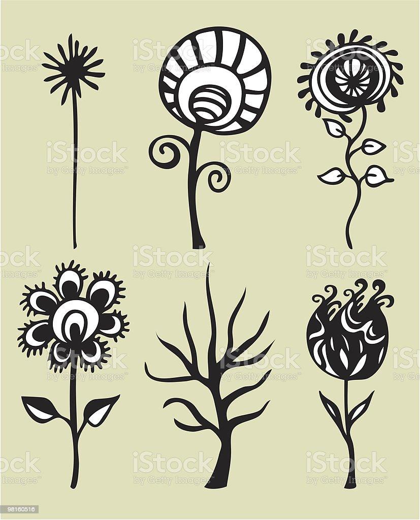set vettoriale fiori set vettoriale fiori - immagini vettoriali stock e altre immagini di albero royalty-free