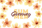 Vector flower summer giveaway illustration for promotion in social network with lettering font and watercolor blossom. Advertising of giving present fo like or repost. Decoration banner for business.