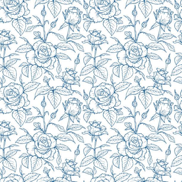ベクトルの花と葉シームレスなパターン。ローズフラワースケッチの手描きの枝。夏の庭の花の美しい花束。花の背景。植物の壁紙 - パターンや背景点のイラスト素材/クリップアート素材/マンガ素材/アイコン素材