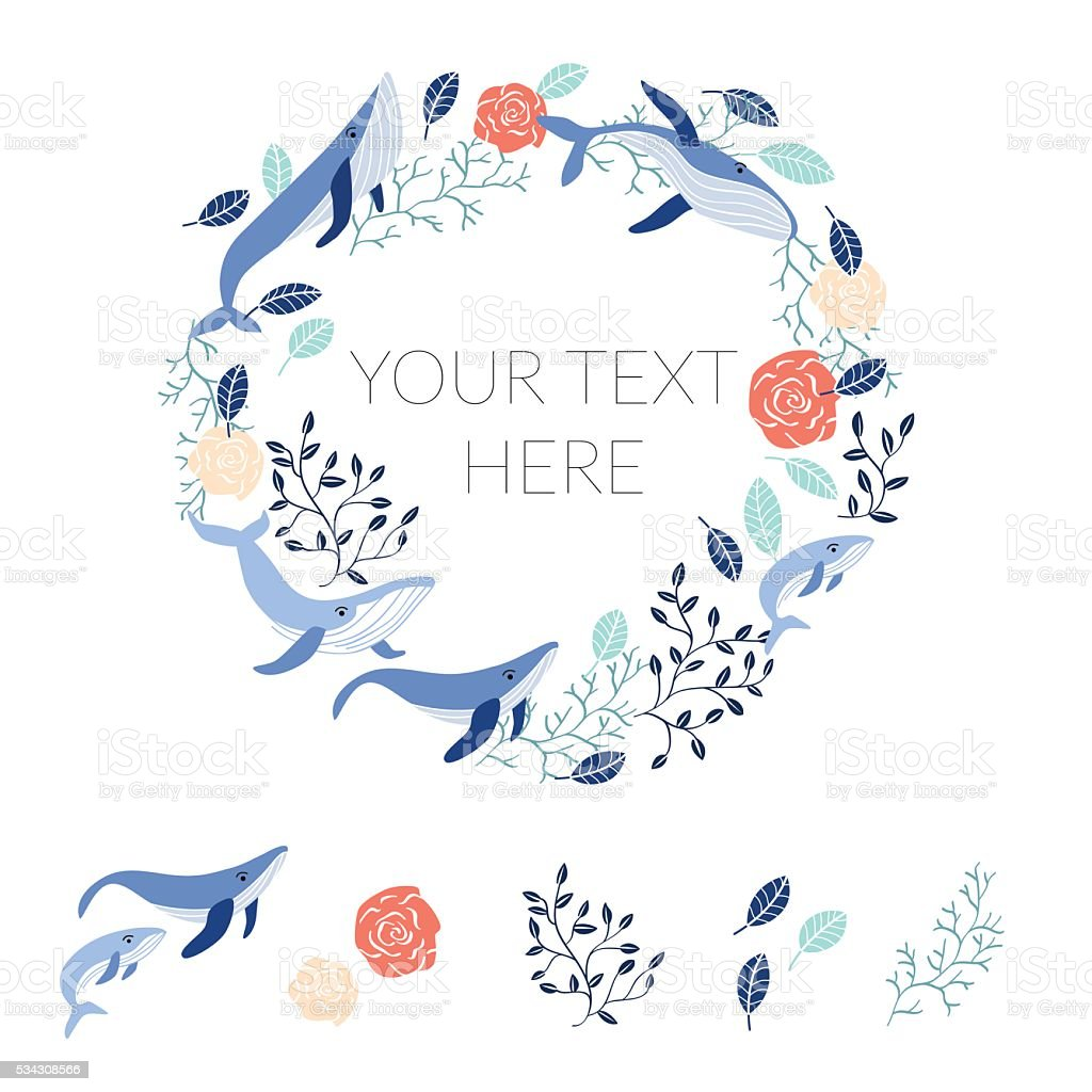 Vector flowers and whales in circle. vector art illustration