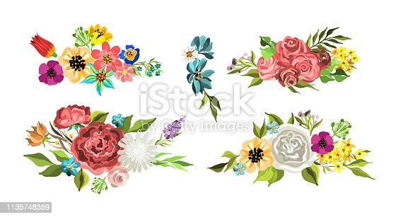 istock vector flowers bouquets for design of flyer, card, postcard, cover 1135748359