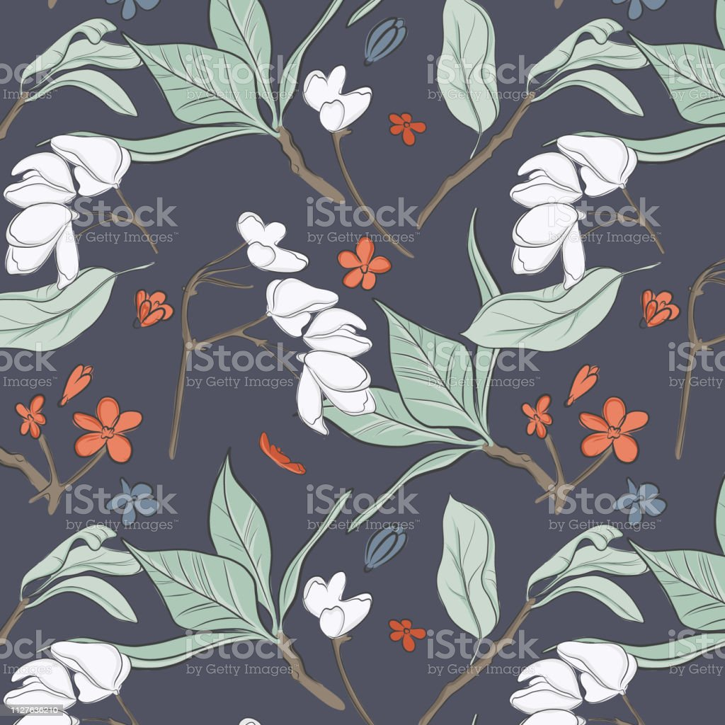 Vector flowers decoration with endless design. Simple botnical...