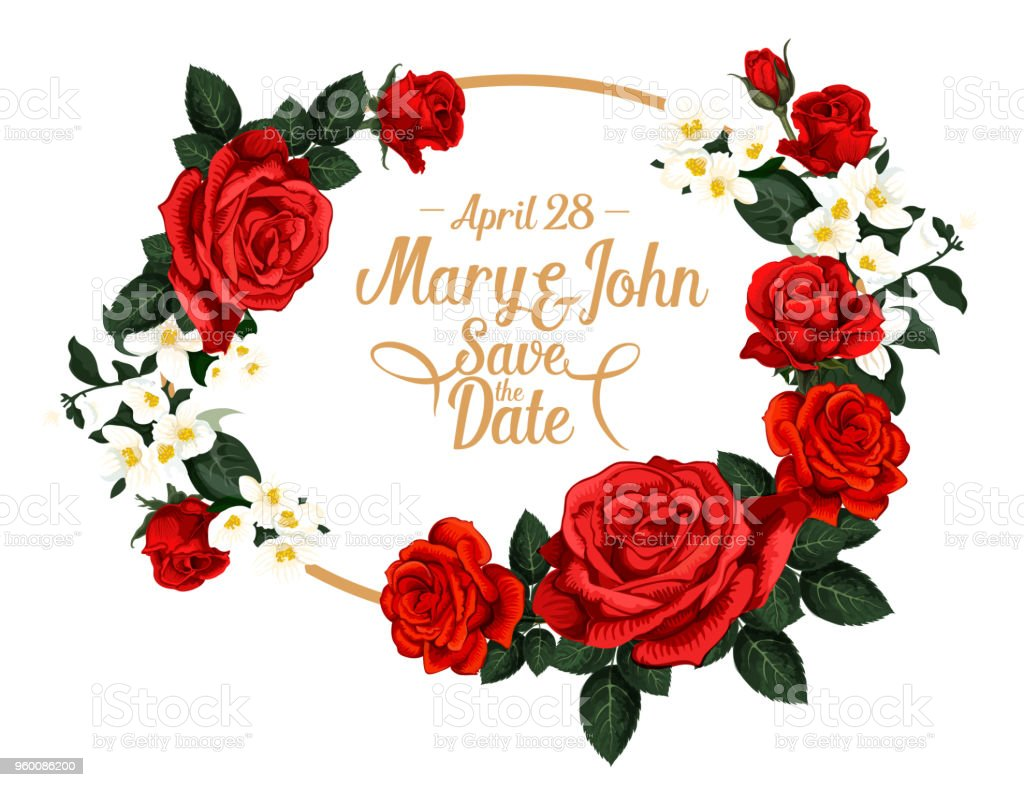 Vector Flowers For Save The Date Wedding Design Stock Vector Art