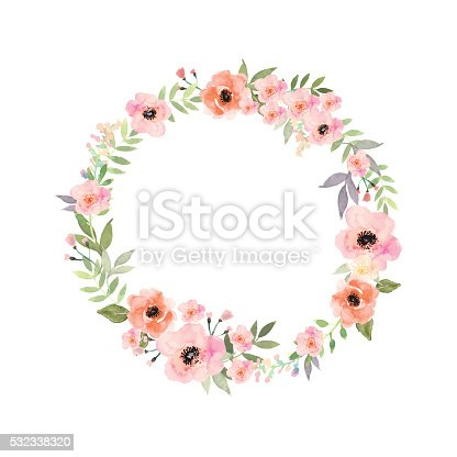 istock Vector flowers frame. Elegant floral collection with isolated flowers. 532338320