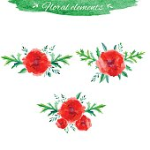 Vector flowers set, Beautiful floral hand drawn watercolor bouquet, bunch of flower arrangement, with red poppy and green leaves isolated on white background for invitations or wedding design