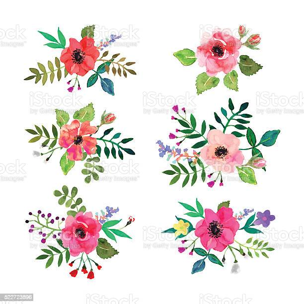 Vector flowers set floral collection with watercolor leaves and vector id522723896?b=1&k=6&m=522723896&s=612x612&h=79fgvw7dpwx mv5eeelg28gfdsiigdxnwqha0jiyysw=