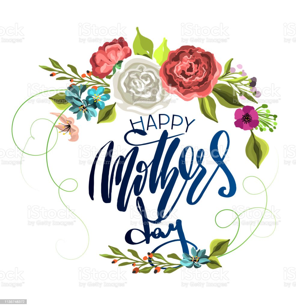 graphic about Happy Mothers Day Printable known as Vector Bouquets With Lettering Pleased Moms Working day For Print