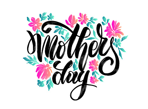 """vector flowers with lettering """"happy mother's day"""" for print design of flyers, banners, cover, postcard"""