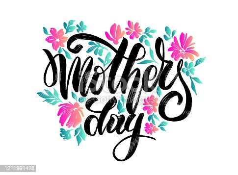 "istock vector flowers with lettering ""happy mother's day"" for print design of flyers, banners, cover, postcard 1211991428"