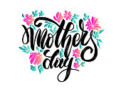 """istock vector flowers with lettering """"happy mother's day"""" for print design of flyers, banners, cover, postcard 1211991428"""