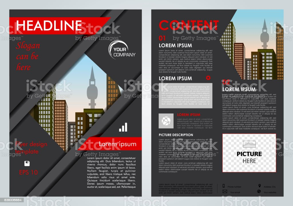 Vector flyer, corporate business, annual report, brochure design and cover presentation with red lines. vector art illustration