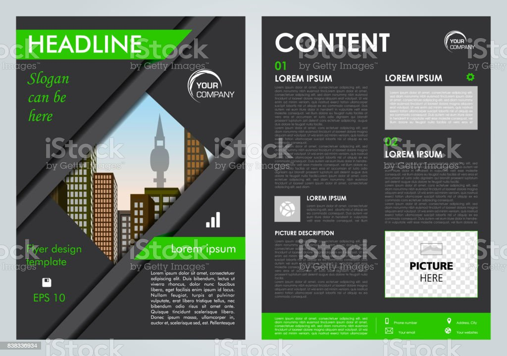 Vector flyer, corporate business, annual report, brochure design and cover presentation with green lines. vector art illustration
