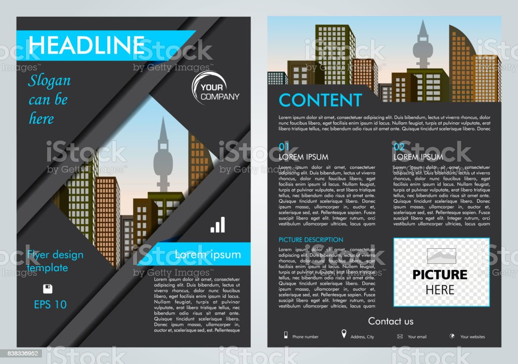 Vector flyer, corporate business, annual report, brochure design and cover presentation with blue lines. vector art illustration
