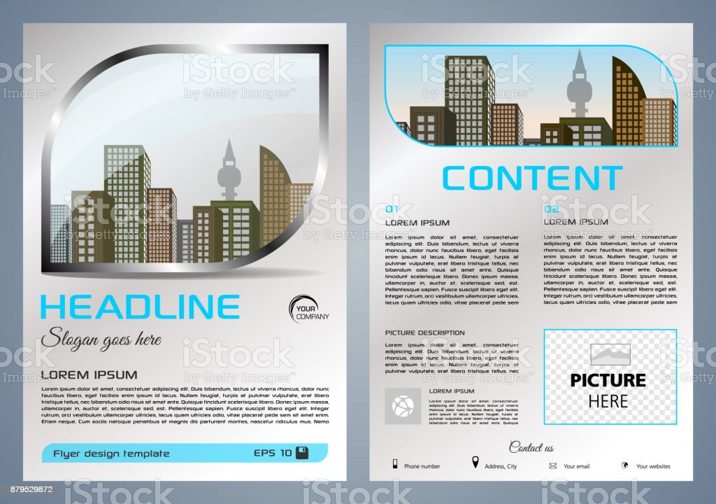 Vector flyer, corporate business, annual report, brochure design and cover presentation with metal window vector art illustration