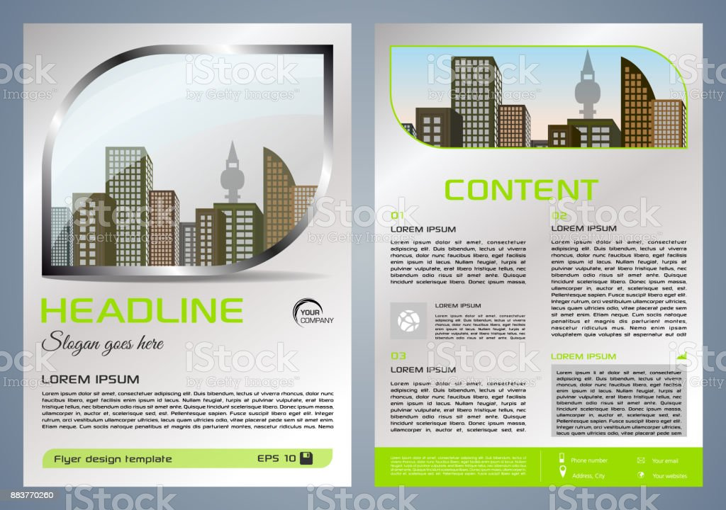 Vector flyer, corporate business, annual report, brochure design and cover presentation with metal window and green color vector art illustration