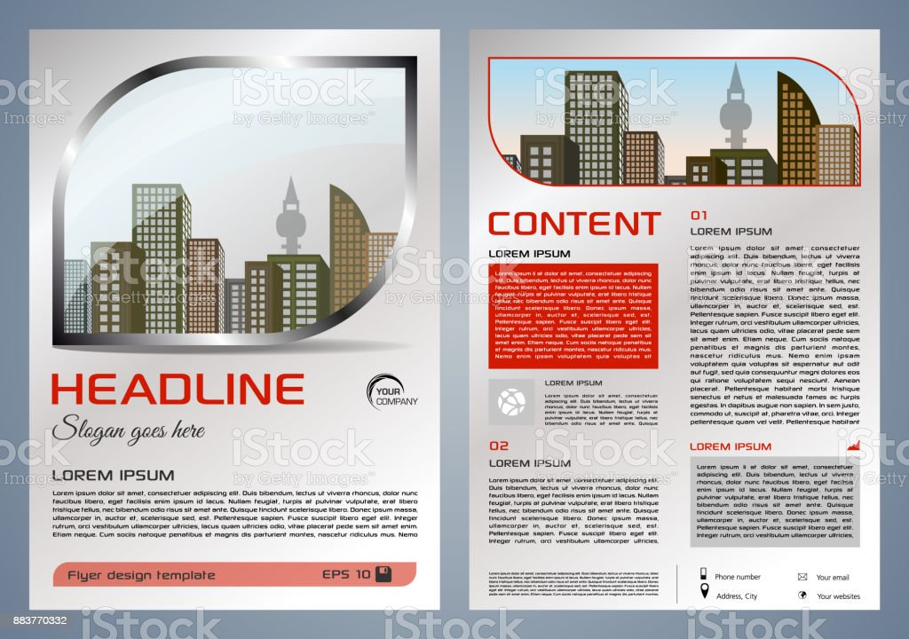 Vector flyer, corporate business, annual report, brochure design and cover presentation with metal window and red color vector art illustration