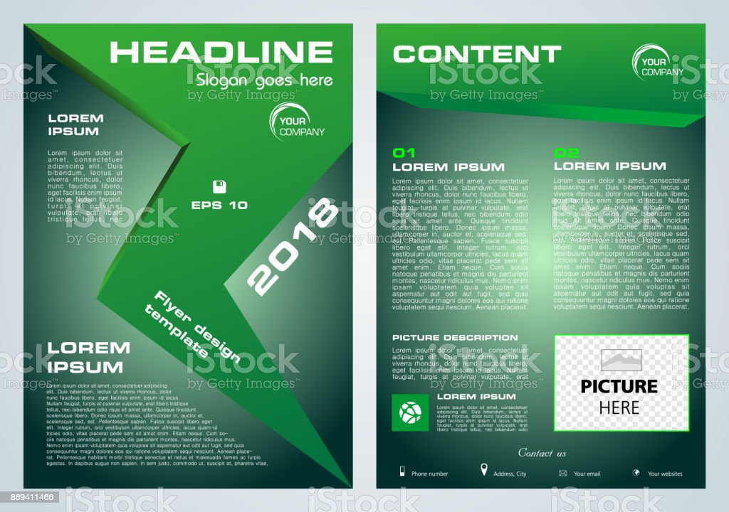 Vector flyer, corporate business, annual report, brochure design and cover presentation with green arrow vector art illustration