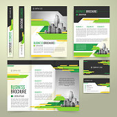 Vector flyer, cover design of the companys annual business report, business card, presentation template with green elements and black white buildings. Advertising brochure, flyer of real estate agency