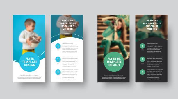 illustrazioni stock, clip art, cartoni animati e icone di tendenza di dl vector flyer design with blue and green circle and place for photo. - rotolo
