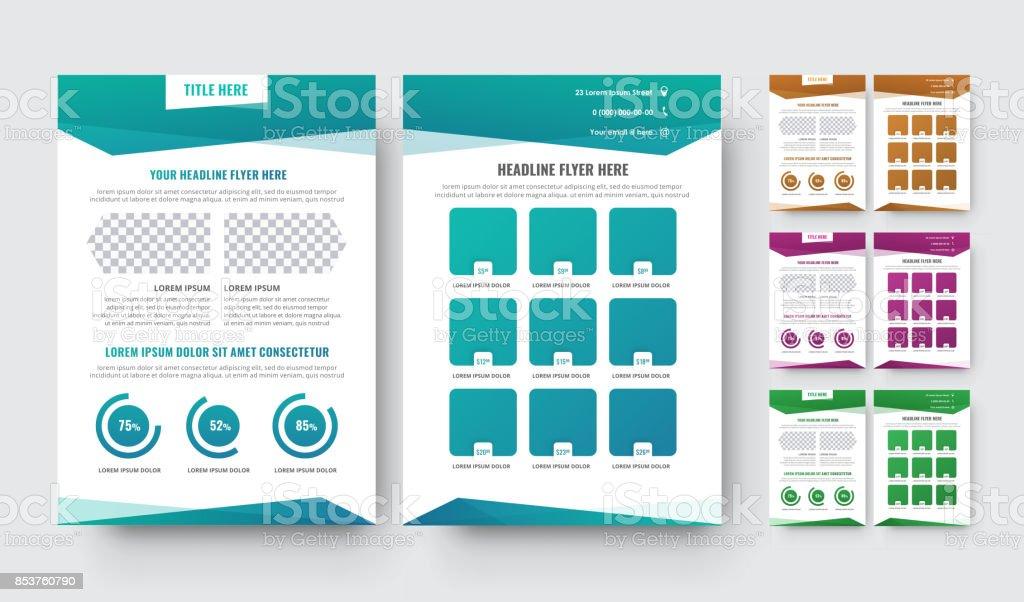 Vektor-Flyer-Vorlage mit abstrakten geometrischen Formen – Vektorgrafik