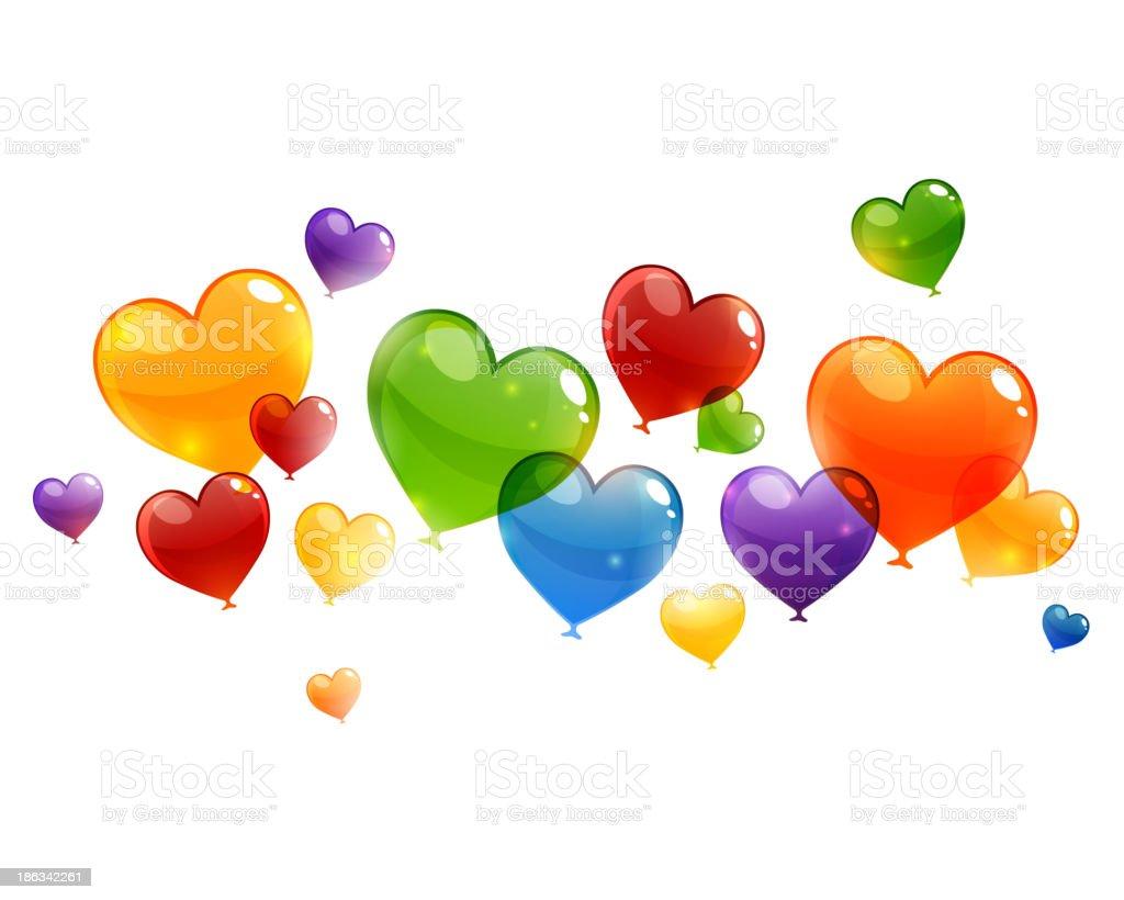 Vector Flying Heart Balloons