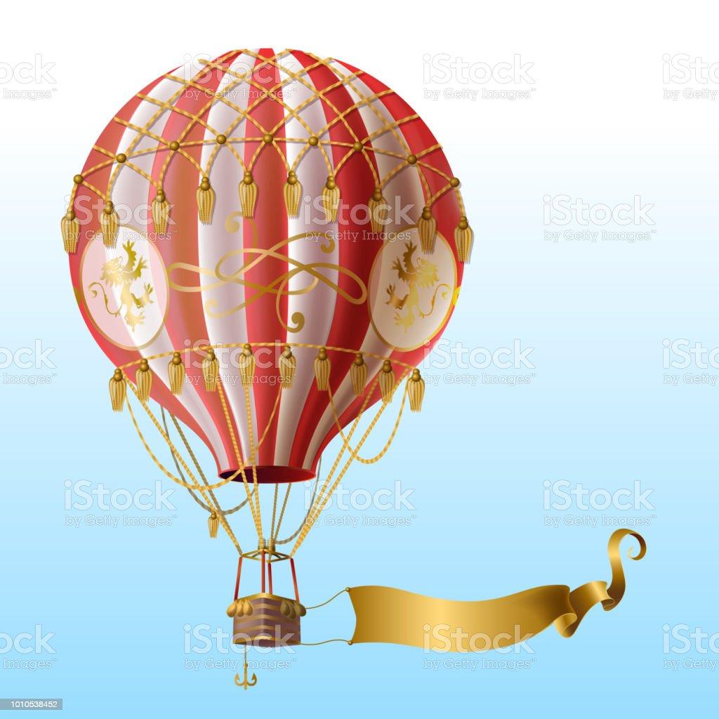 Ucan Sicak Hava Balonu Vintage Dekor Ile Vektor Stok Vektor Sanati Aerostat Nin Daha Fazla Gorseli Istock