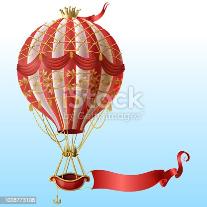 Vector realistic hot air balloon with vintage decor, crown, flying on blue sky with blank red ribbon for message. Aerostat with basket for royal travels. Template for poster, advertising banner, card