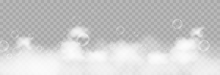 Vector foam with bubbles. Soap bubbles png, foam png, soap, shampoo. Bath foam on isolated transparent background.