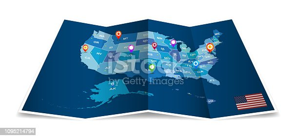 Vector Folded American map with administrative district isolated