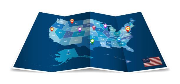 격리 관리 지구 벡터 접힌 미국 지도 - 미국 stock illustrations