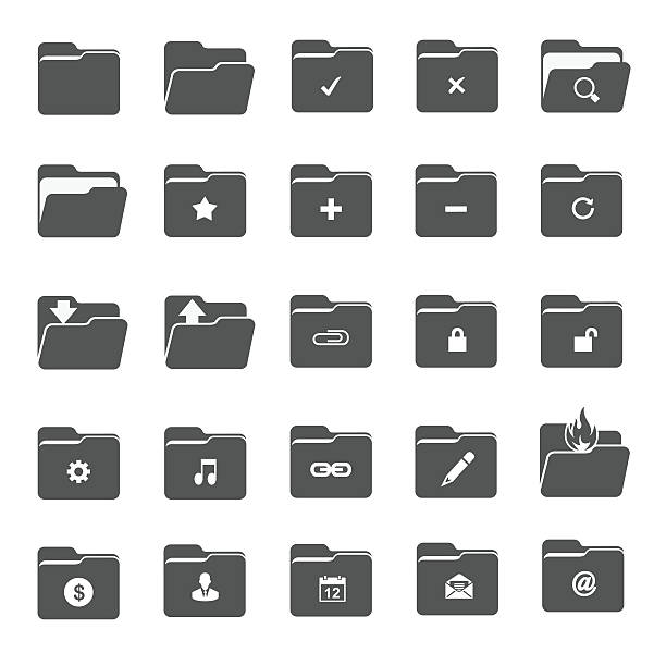 vector folder icons - ring binder stock illustrations