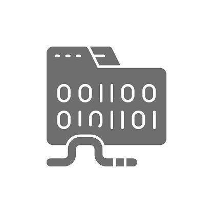 Vector folder virus, computer worm grey icon.