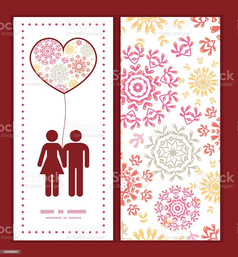 Vector Folk Floral Circles Abstract Couple In Love Silhouettes Frame ...