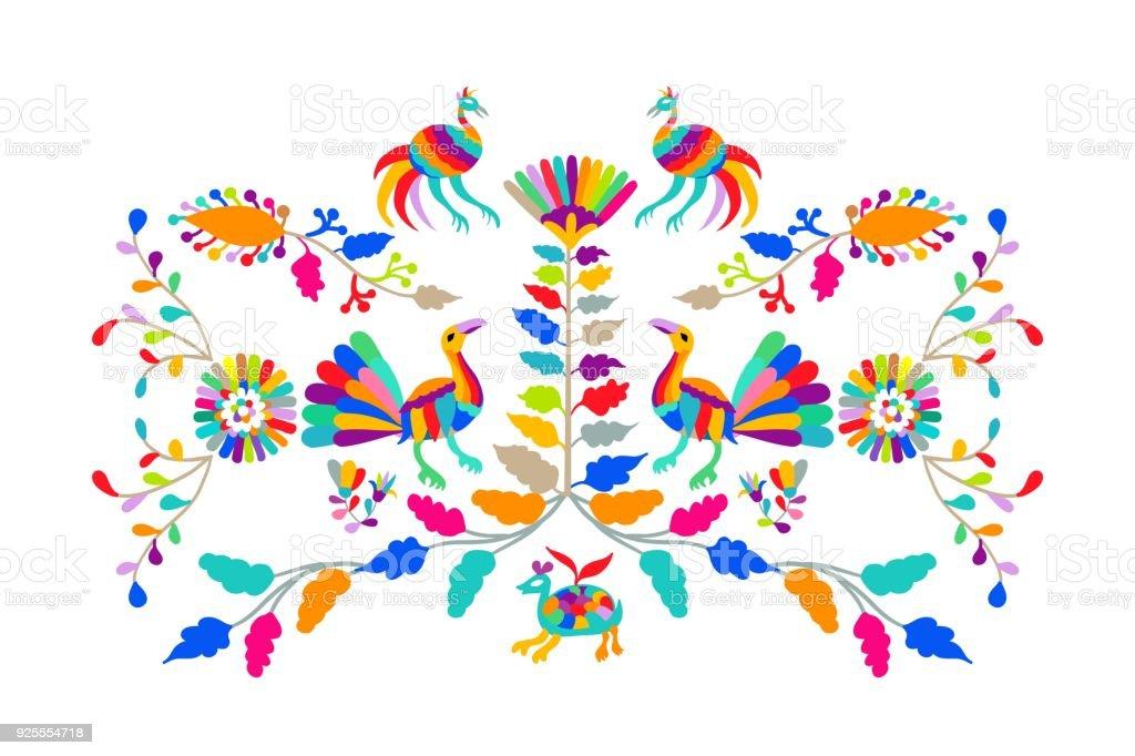 Ilustración de Bordado Otomí Mexicana Estilo Popular Patrón De ...