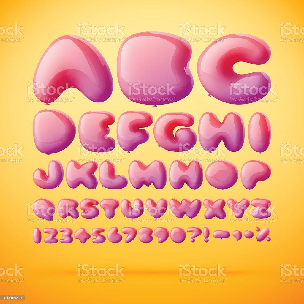 Vector font made from balloons. Alphabet vektör sanat illüstrasyonu