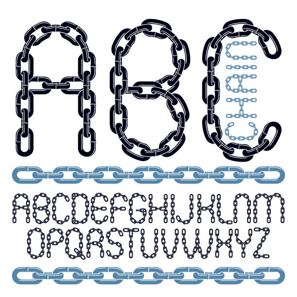 Best Silhouette Of A Chain Link Font Illustrations, Royalty-Free