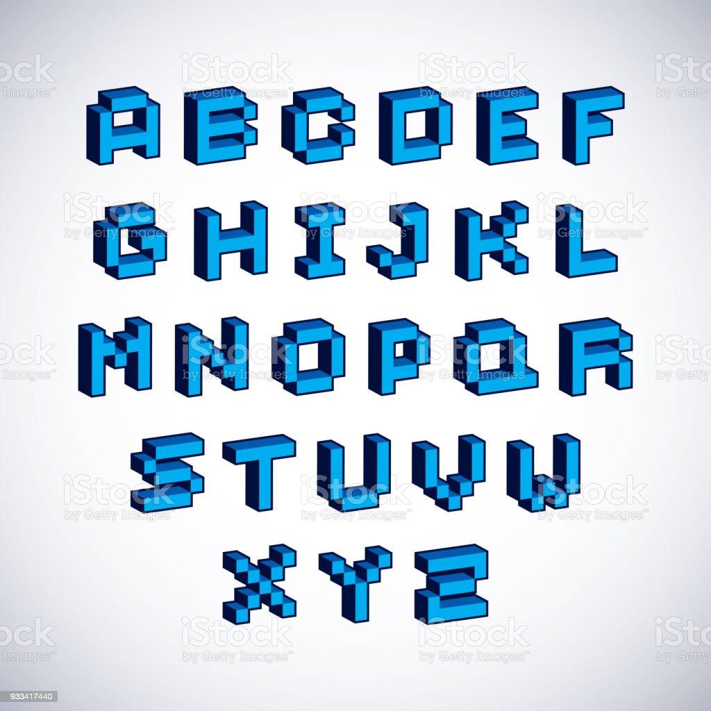Vektorschrift Typoskript Im 8bitstil Geschaffen Pixel Kunst ...